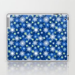 Christmas pattern. Lacy snowflakes on a blue background. Laptop & iPad Skin
