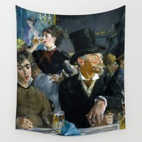 concert Wall Tapestries featuring Édouard Manet - The Café-Concert by Elegant Chaos Gallery