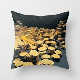 Gold Coins Throw Pillow