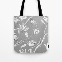 Magnolia flower and birds ink-pen drawing Tote Bag