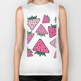 strawberry white Biker Tank
