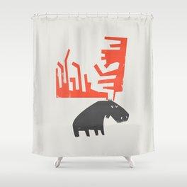 Grumpy Moose Shower Curtain