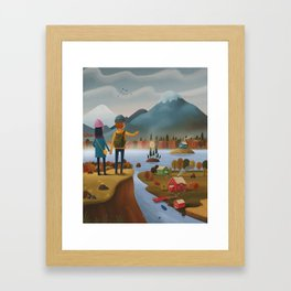 Into the mountains! Framed Art Print