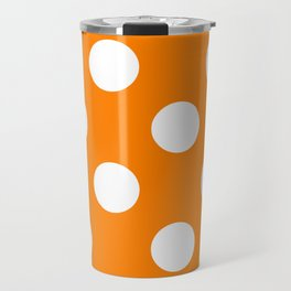 Large Polka Dots - White on Orange Travel Mug