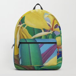Yellow Ginger Orchid still life painting by Artist Unknown Backpack