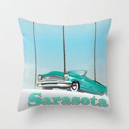 Sarasota Florida vintage style travel poster Throw Pillow