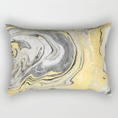 Reiko - gold grey black and white minimal marble abstract ink japanese modern monoprint art  Rectangular Pillow