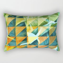 Abstract Geometric Tropical Banana Leaves Pattern Rectangular Pillow