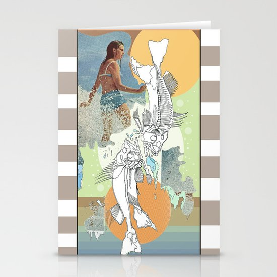 skeleton surf Stationery Cards