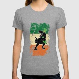 Distressed Irish Flag St Patrick Dinosaur T-shirt