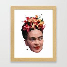 Frida in low poly Framed Art Print
