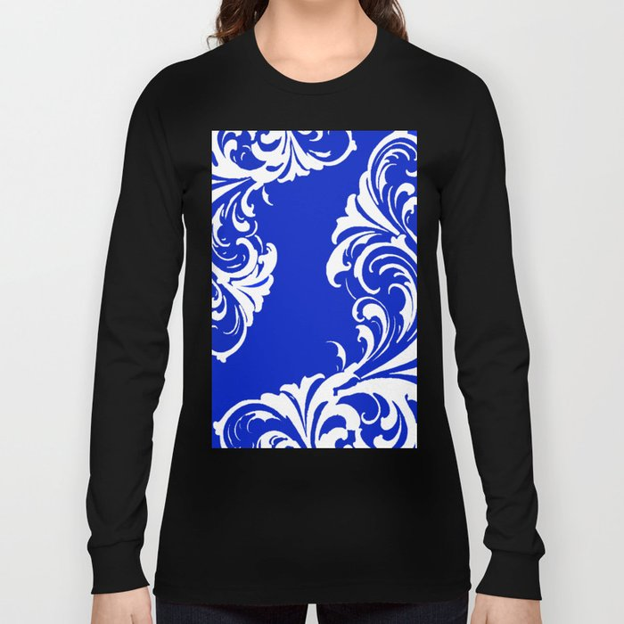 Damask Blue and White Long Sleeve T-shirt