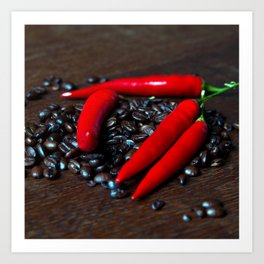 Hot Chilly and Coffee Beans Art Print
