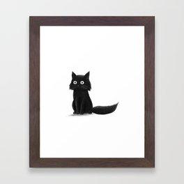 Sitting Cat (mono) Framed Art Print