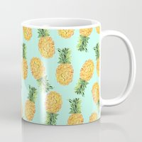 novelty Mugs featuring Pineapple by Amy Sia