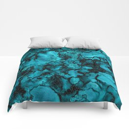 Blue Gemstone and Ink Malachite Glitter Marble Comforters