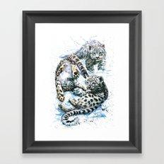 Little snow leopards Framed Art Print