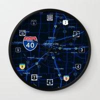 oklahoma Wall Clocks featuring oklahoma map by Larsson Stevensem