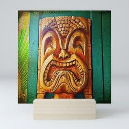Hawaii retro wood carving tiki face close-up Mini Art Print