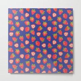 English Summer Strawberries on Royal Blue Metal Print