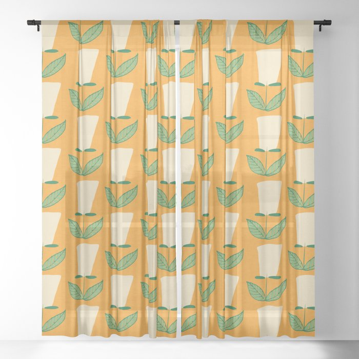 Retro Botanical Mid century Tulip Yellow Sheer Curtain