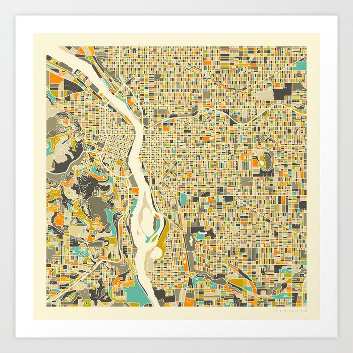 PORTLAND Map Art Print by jazzberryblue