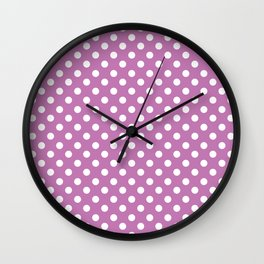 Orchid Purple and White Polka Dot Pattern Wall Clock