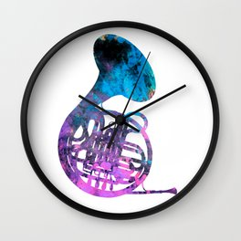 french horn music Wall Clock