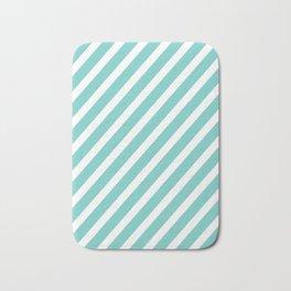 Tiffany Aqua Blue Diagonal Stripes Bath Mat