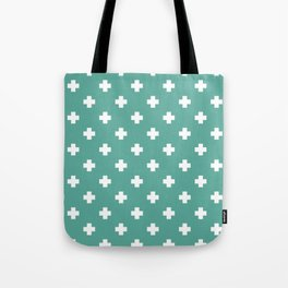 White Swiss Cross Pattern on Green Blue background Tote Bag