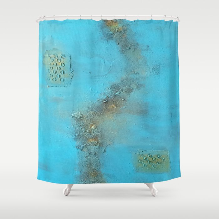 Earth. Texture. Blue. Jodilynpaintings. Brown. Abstract. Earths Crust. Shower Curtain