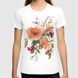 lily/rose/sweet pea in watercolor T-shirt