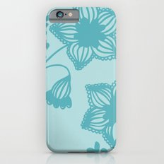 Floral silhouette blue  iPhone 6s Slim Case