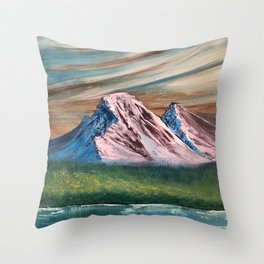 Pink and Blue Mountains Throw Pillow