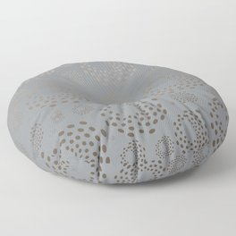 Geometric Round Abstract Hazelnut Circles On Pewter Gray Background Floor Pillow