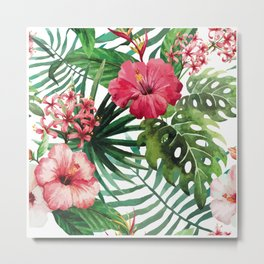 Tropical- Hibiscus and fern Metal Print