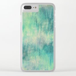 Soft Green Teal Wash Clear iPhone Case