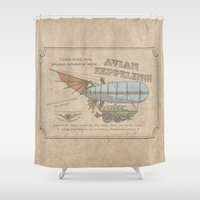 led zeppelin Shower Curtains featuring Avian Zeppelin Steampunk Poster by Jason Simms