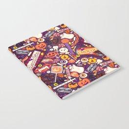 Creepy Halloween Candy on Purple Notebook