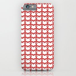 Cross sparkling pattern of red hearts on a light background. iPhone Case