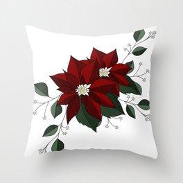 Nochebuena Poinsettia Throw Pillow