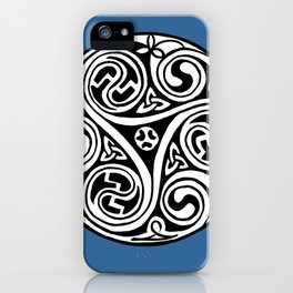 Celtic Art - Triskele - on Blue iPhone Case