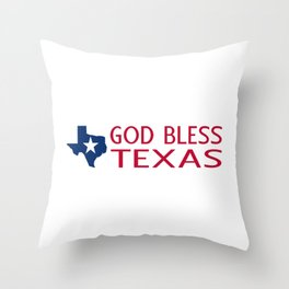 God Bless Texas Throw Pillow