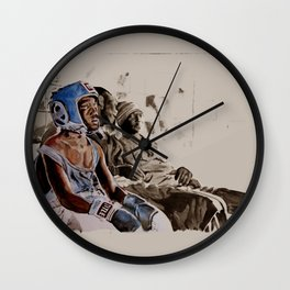 BRONX BOXING BOYS - sepia/blue version Wall Clock