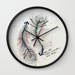 Not All Who Wander Are Lost Feather Arrows Wall Clock