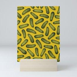 A Plethora Of Pickles - Green & Yellow Gherkin Pattern Mini Art Print