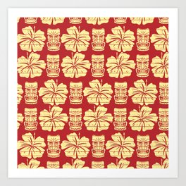 Tiki and Hibiscus - Red and Yellow Art Print