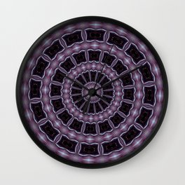 Eggplant and Pale Aubergine Kaleidoscope Pattern Wall Clock