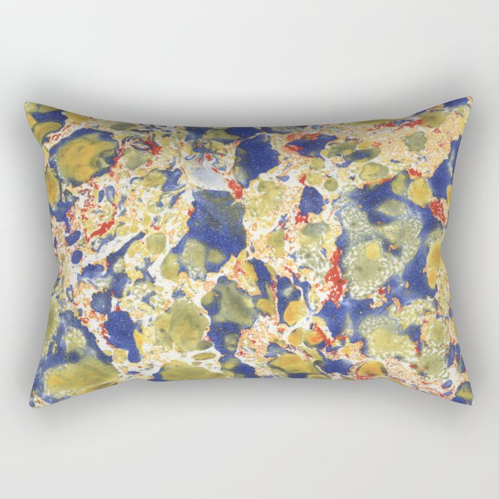 Marbling, yelow, blue and red Rectangular Pillow