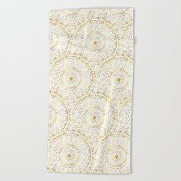 Gold Hand Drawn Mandala Beach Towel